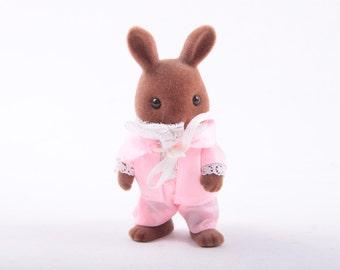 Vintage, Sylvanian Families, Flocked, Furry Rabbit, Groom, Brown Rabbit, Sylvanian Family ~ The Pink Room ~ 160921B