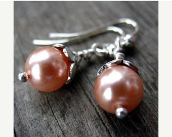 33% Off Sale Pink Pearl and Sterling Silver Earrings