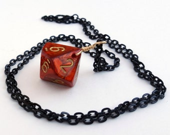 Dice Necklace - Red and Gold D10 Ten Sided Dice Jewelry - Geeky Gamer Pendant