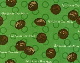 Girl Scout Fabric Thin Mint Robert Kaufman Out of Print Cookies Green Brown Fat QUarter Piece