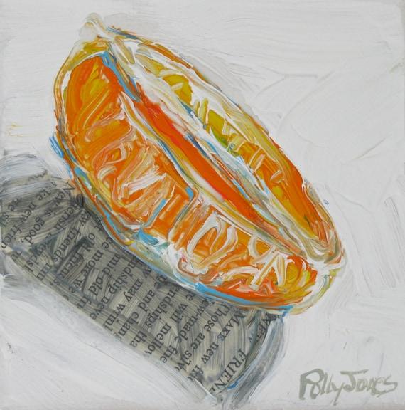 Mandarin original mixed media still life painting by Polly Jones