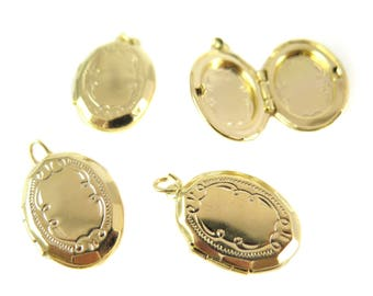 Gold Plated Etched Oval Lockets (2X) (L507)