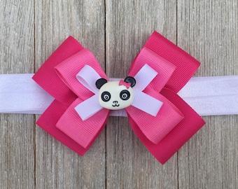 Baby/Toddler/Girl Headband,Panda Hair Bow,Detachable Hair Bow,Soft Elastic Headband,Gymboree Panda Academy