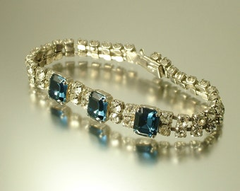 Vintage/ estate 1940s 1950s Art Deco , glam chrome, clear and blue glass rhinestone/ paste bracelet - jewellery jewelry