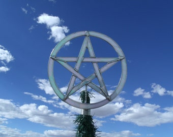 Yule Tree Topper, Pagan Christmas, Wiccan Stained Glass Star, Custom Stained Glass