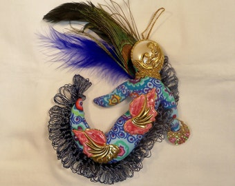 OOAK Lady Jewelry Peacock Diva Fantasy cloth art doll  7x7 in.