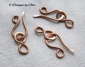 Three Handmade Copper Hook & Eye Clasps (16 ga) Hammered Metalwork, Bright or Antiqued... MTO Jewelry Clasps