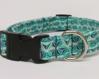 Green Geometric Starburst Printed Handmade Dog Collar