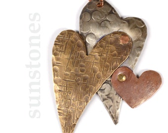 Hand Forged Rustic Mixed Metal Heart Pendant Component PN317