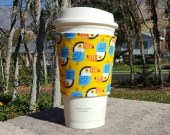 Fabric coffee cozy / coffee cup holder / coffee sleeve -- TOUCANS on yellow