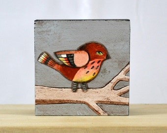 Tiny Bird Painting One of a Kind Original Contemporary Folk Art OOAK Ready to Hang