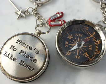 Wizard of Oz Keychain, Wizard of Oz Compass, There's no Place Like Home Necklace, Gift for her, Gift Under 30, Working Compass, Mother Gift