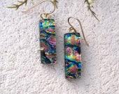 Slim Earrings ,Gold PInk Blue, Dichroic Earrings, Fused Glass Earrings, Gold Filled Earrings, Dangle Drop Earrings, Pink Earring, 32017e2