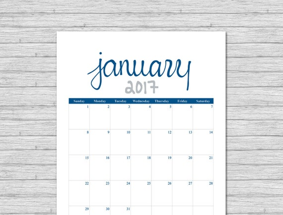 2017 Calendar, Printable Calendar, Lapis, Grey, Printable Monthly Calendar, Calendar Pages, Portrait Calendar, Calender, Instant Download