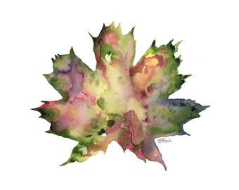 Autumn Leaf Meditation- Original Watercolor Painting by Ericka O'Rourke