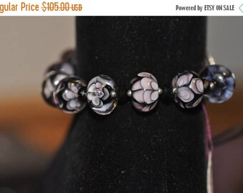Spring Sale Midnight Amethyst Lampwork and Beaded Bracelet with Hammered Sterling Toggle Clasp