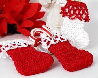 Miniature Christmas Stockings, Tree Ornament, Gift Tag, Red, White Lace Christmas Stockings, Set of 3 Holiday Decorations