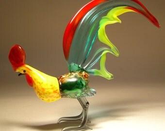 Handmade  Blown Glass Figurine Art Bird Aqua ROOSTER Figure