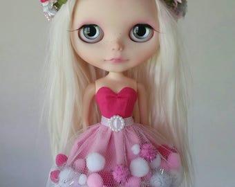 I Love Pink pom-pom dress for Blythe and Pullip