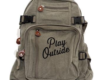 Backpack | Play Outside | Men Canvas Backpack | Camera Bag | Laptop Bag | Outdoorsman Gift | Rucksack | Diaper Bag Backpack | Kids Backpack