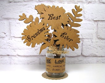Grandmother Gift You Can Personalize - BEST GRANDMA EVER -  Mothers Day Corrugated Cardboard Flowers Bouquet In Mini Mason Jar