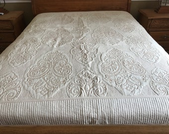 Classic Embossed Floral Design Quilt /golden thread on Ivory