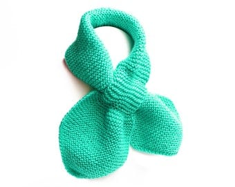 Child's Turquoise Pull Thru Knit Scarf. Aqua Unisex Toddler Keyhole Muffler 2 to 4 Years. Winter Neck Warmer Wrap. Bow Tie Loop Scarf Ascot