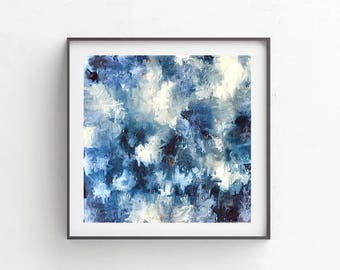 Blue Watercolor, Abstract Art Print, Blue And White, Modern Art Print, Watercolor Painting, Minimalist Art Print, Abstract Wall Art
