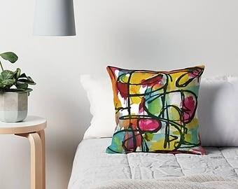 Art Pillow, Modern Pillow, Throw Pillow Cover, Accent Pillow, Rainbow Pillow, Modern Pillow Cover, Art Pillow Cover, Modern Throw Pillow