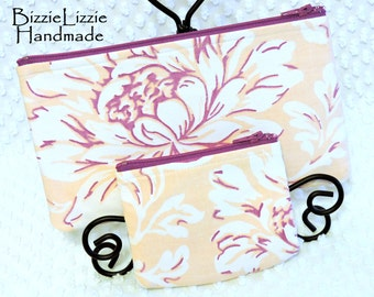 Change Pouch and Slim Cosmetic Bag Set, Vintage Linens Fabric Purse Organizers, Set of 2, Handmade Zipper Pouches