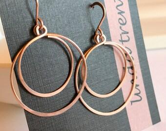 Swinging Double Hoop Earrings. Rose gold Hoop Earrings. Gold fill Hoop Earrings. Sterling Silver Hoop EArrings