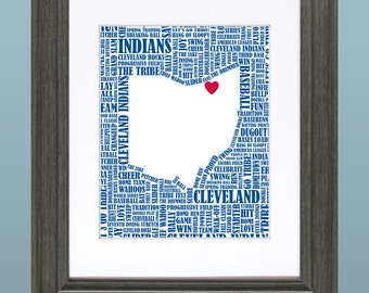 Cleveland Indians Word Art Map 8x10 Inch Printable
