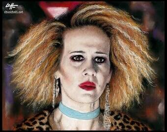 "Print 8x10"" - Hypodermic Sally McKenna - American Horror Story Hotel Sarah Paulson Evan Peters Lady Gaga Ghost Dark Art Horror Halloween Pop"