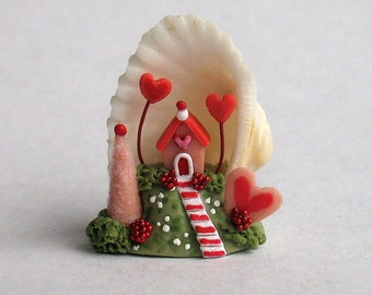Miniature  Charming Whimsy Fairy Valentine House Diorama in Tiny Sea Shell OOAK by C. Rohal