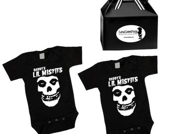 Twin Daddy's Lil Misfits Punk Rock Baby Rockstar Kit black onesie Father's Day