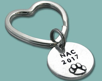 2017 NAC NOC RNC Akc National Championship Hand Stamped Pewter Key Ring or Crate Tag