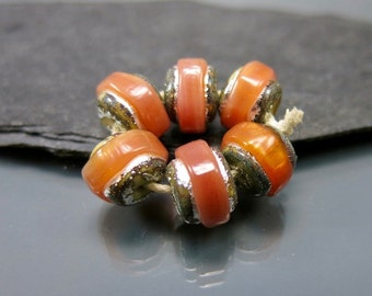 Handmade Lampwork Nugget Beads by GlassBeadArt …  Opal Orange Sparkling Rocks ... SRA F12 ... 10x12mm