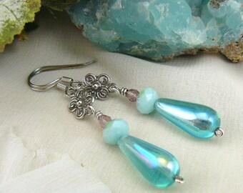 Aqua Drop Earrings ~ Mint Alabaster Swarovski Earrings ~ Crystal Teardrop Dangle Earrings ~ Sterling Silver Flower Earrings ~ Dewdrops