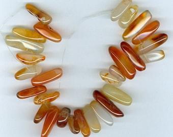 Carnelian Spike Beads Shades of Orange Carnelian Gemstone Top Drilled Stick Focal Bead 599B