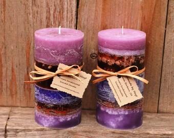 SALE: Pair of Purple Sandalwood Scented Medium Pillar Candles
