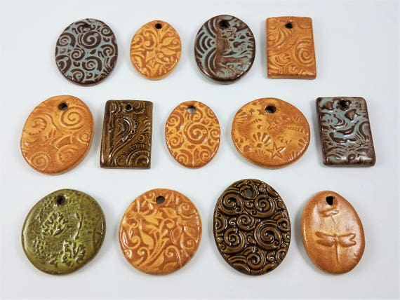 Ceramic Pottery Pendants - Stoneware Pendants - Jewelry Supply - Craft Supply - Set of 13 - Clay Pendants - Focal Beads - Handmade Pottery