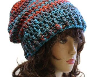 Slouchy Beanie Hat Mens or Women Crochet Slouch Beanie Hat One Of A Kind  Ready to Ship