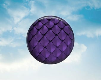 Purple Dragon Scale - Glass Image Cabochon - Choice of 12mm, 16mm, 18mm, 20mm, 25mm and 30mm Round