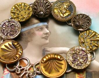 "SALE Poseidon BUTTON bracelet, Victorian Mythology with SeaHorses, 7.5"" silver bracelet. Antique button jewellery. Sale"