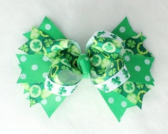 A St. Patrick's Day Shamrock Hair Bow with Barrette