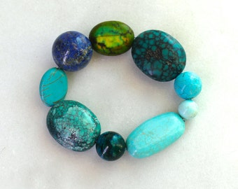 Little Luxe Simple Stacking Stretch Bracelet in Multi Turquoise...