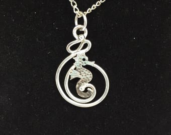 Seahorse necklace, sea horse pendant, mermaid jewelry