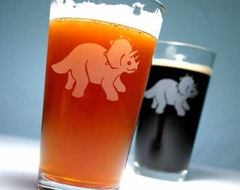 Triceratops Dinosaur Pint Glass