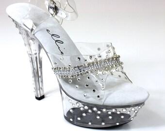 "Sparkling Crystals Sandal 6"" Heel / Bikini Figure Competition Shoes"