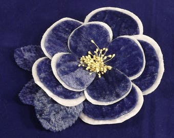 Velvet Camellia Flower Blue and White Millinery Bridal Wedding Corsages Boutineers Bouquets Crafts